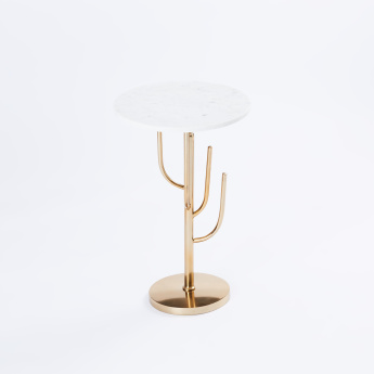 Glazed Round Accent Table - 35x35x56 cms