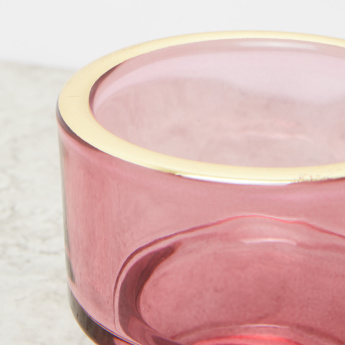 Candle Holder with Contrast Rim - 8x8x7 cms