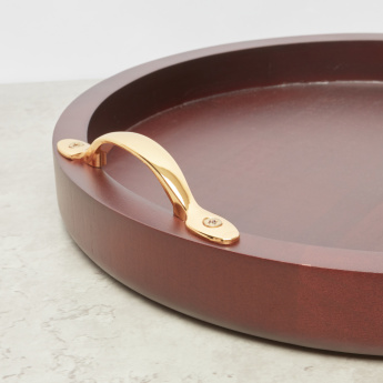Handcrafted Decorative Round Wooden Tray - 31.44x31.44 cms