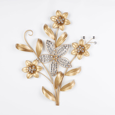 Embellished Gold Flower Wall Decor - 62.5x57.5x5.5 cms