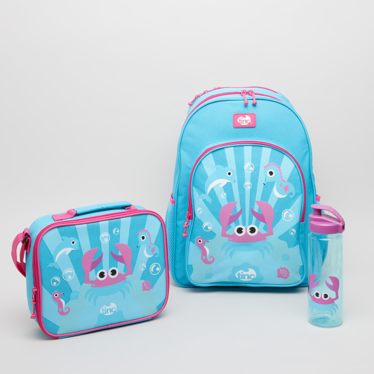 Tinc Ocean Crab Printed Backpack - 12x36x40 cms