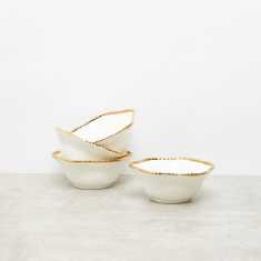 Round 4-Piece Bowl Set with Metallic Glazed Rim - 16.5x16x6.5 cms