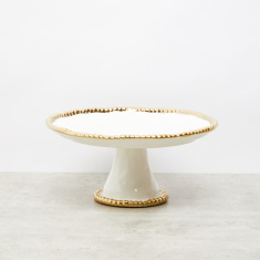 Round Cake Stand with Metallic Glazed Rim - 28.4x28.4x13.5 cms