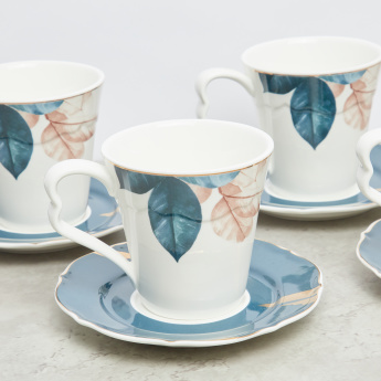 Leaf Printed Cup and Saucer - Set of 4