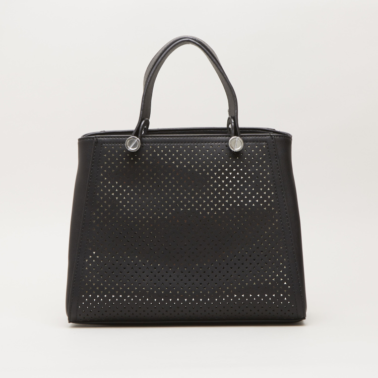 Sasha Tote Bag with Cutwork Design and Twin Handle Straps