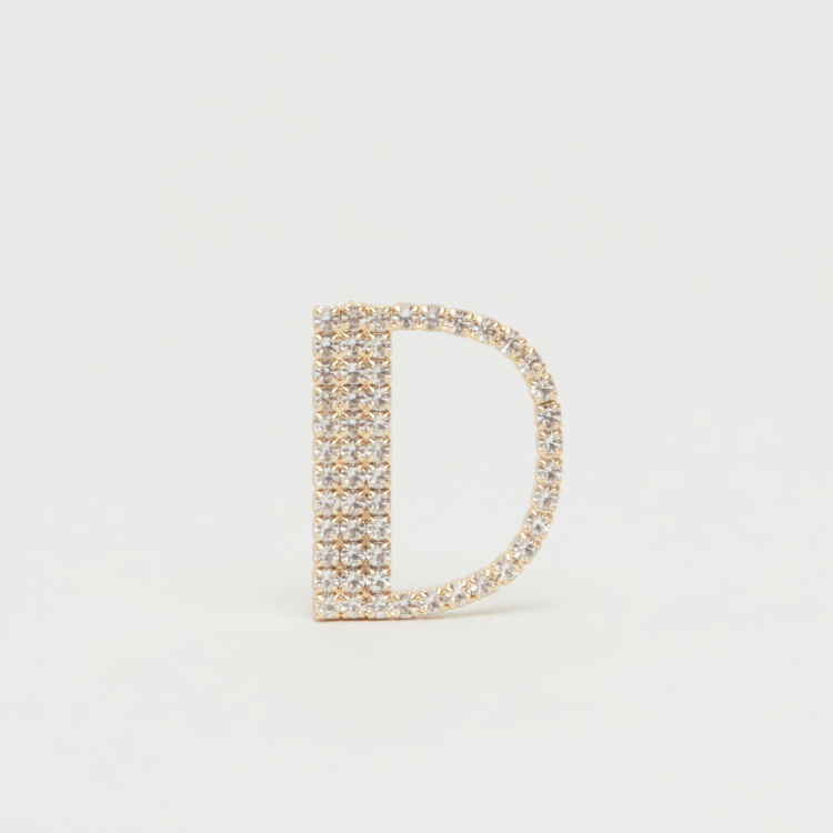 Crystal Studded Alphabet D Brooch