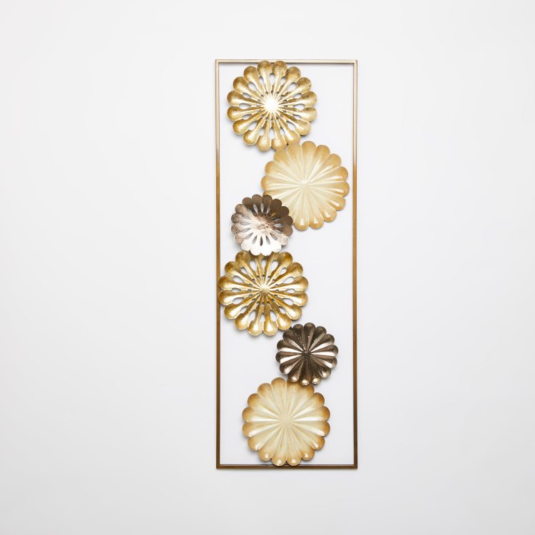 Metallic Glazed Rectangular Wall Panel with Flower Design