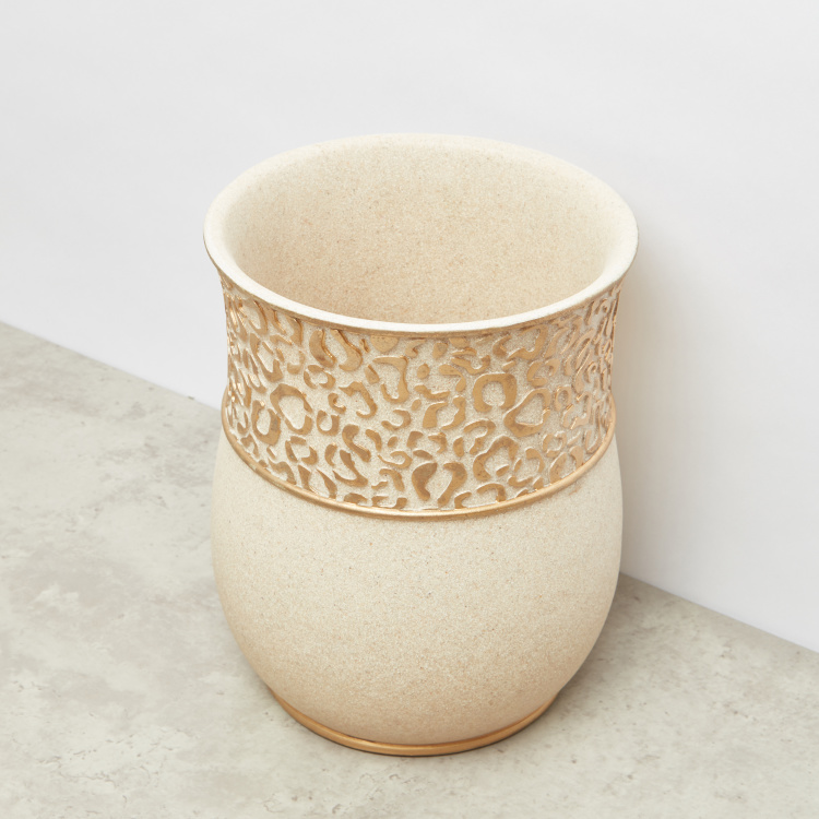 Glazed Leopard Pattern Embossed Waste Bin - 20.3x20.3x25.5 cms
