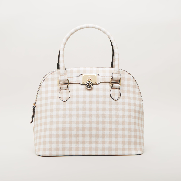 Bessie London Checked Dome Bag with Twin Handle Straps