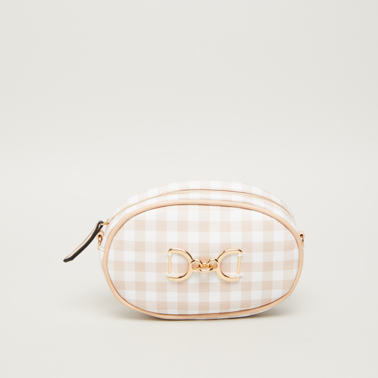 Bessie London Checked Belt Bag with Handcuff Shaped Metal Accent
