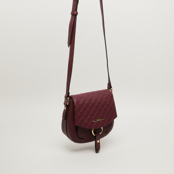 Bessie London Satchel with Quilted Flap