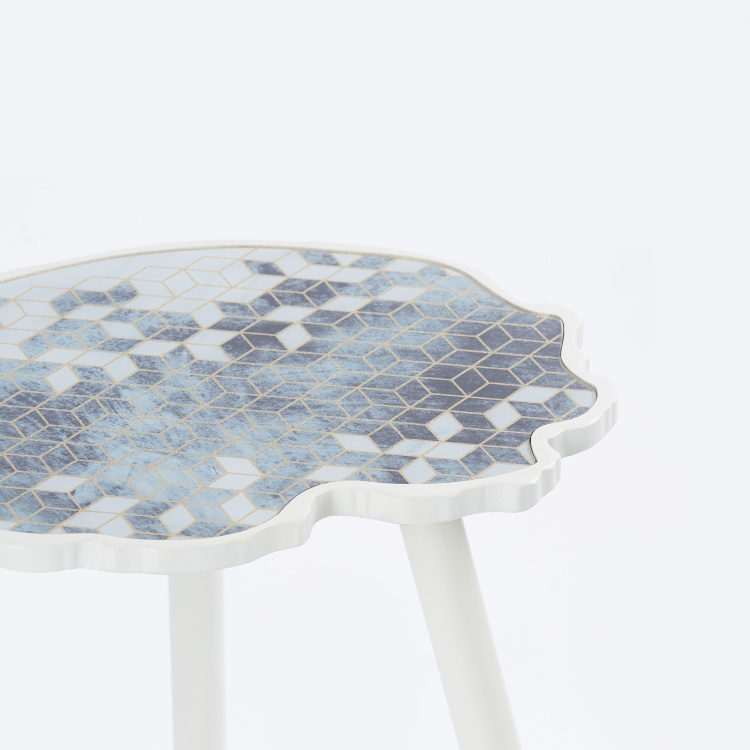 Printed Round Accent Table - 50x37x61.5 cms
