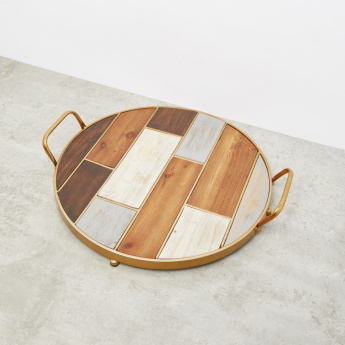 Round Tray With Handles - 42.5x39.5x8 cms