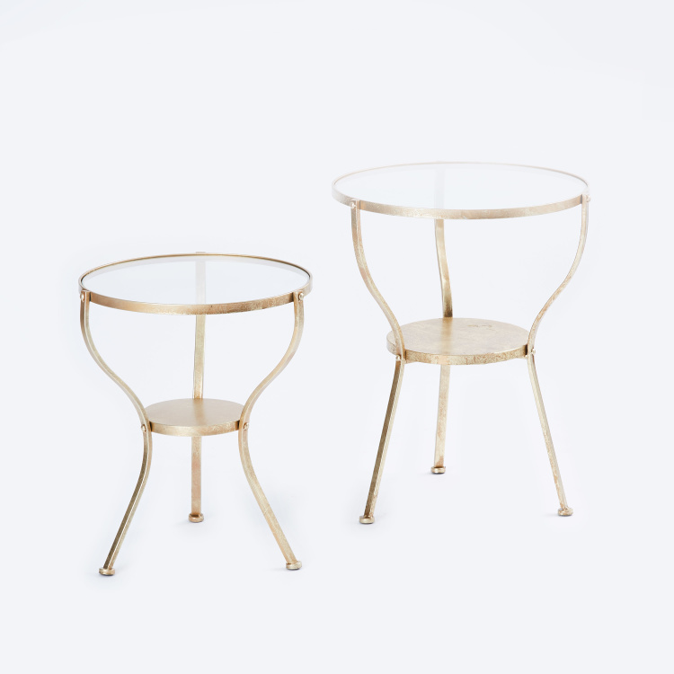 Metallic Round Accent Table - Set of 2