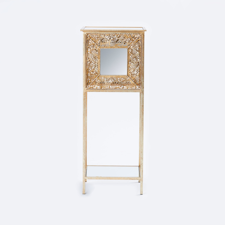 Metallic Square Accent Table - 32.5x32.5x82 cms