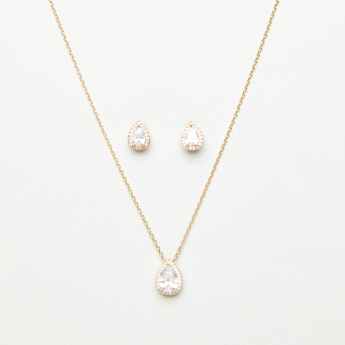 Embellished Crystal Studded Tear Drop Necklace and Earring Set