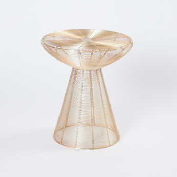 Metallic Cylindrical Accent Table - 41x41x45 cms