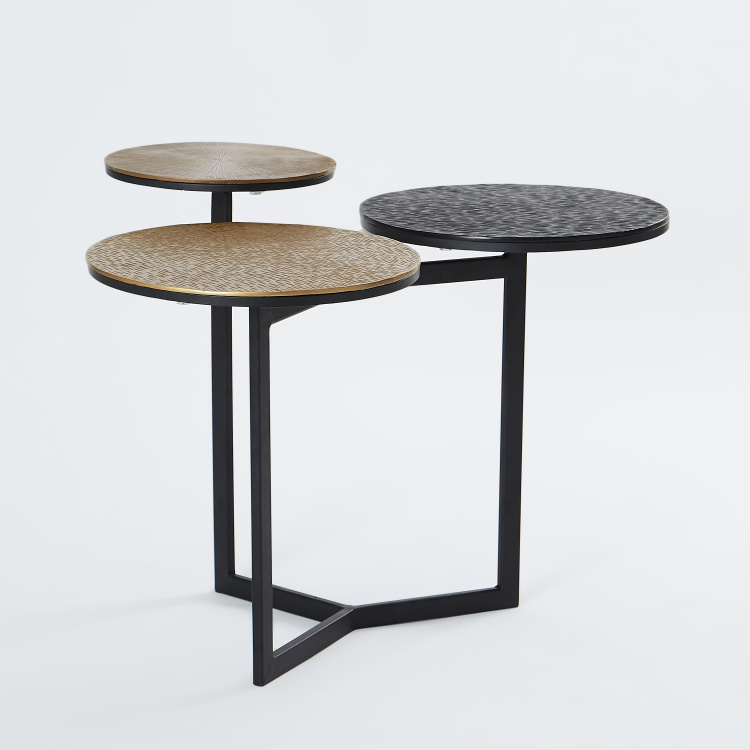 Textured 3-Tier Accent Table - 76x62x52 cms