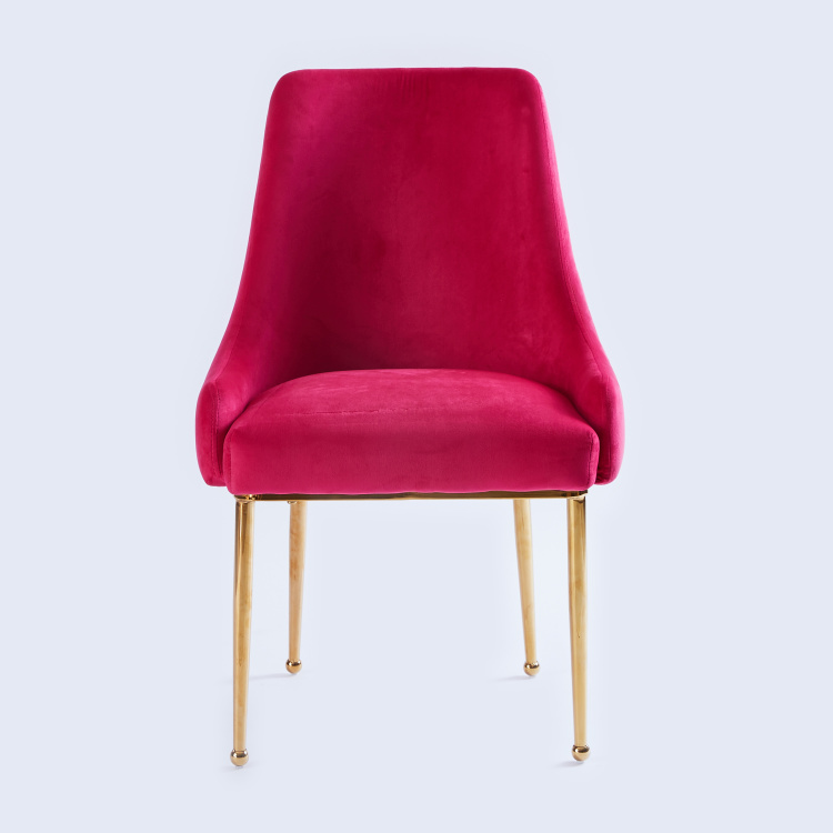 Metallic Chair with Velvet Upholstery - 55x55x87 cms