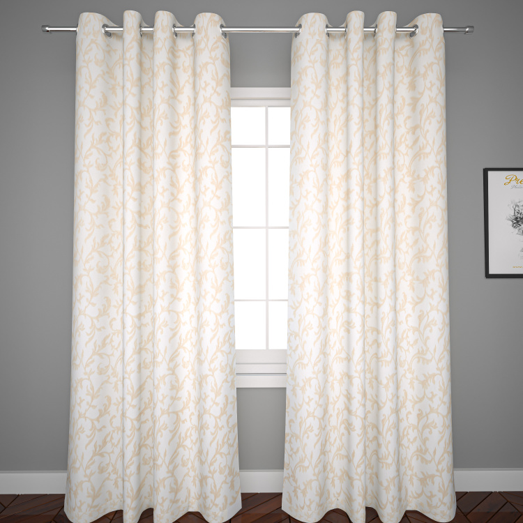Embroidered 2-Piece Curtain Set with Metallic Eyelets - 240x135 cms