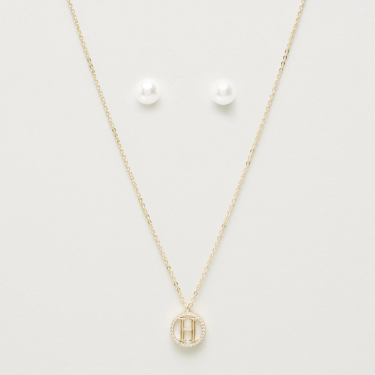 Sentiments Necklace with English Letter H Pendant and Earrings