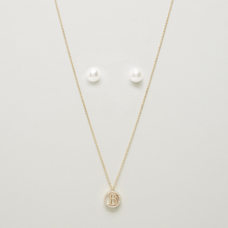 Sentiments Embellished Pendant Necklace and Earrings Set