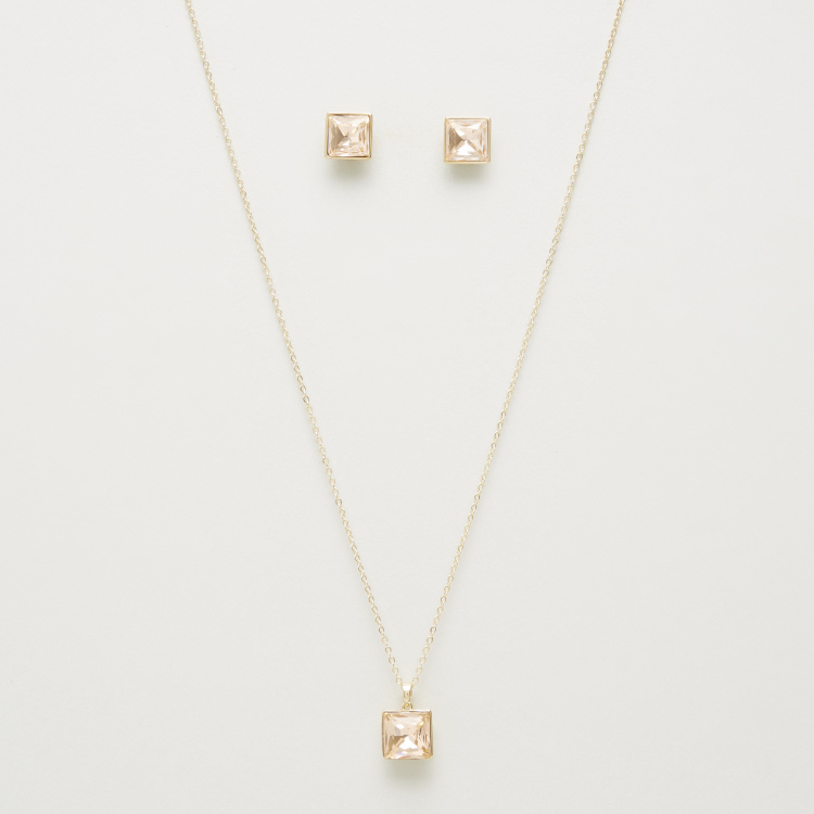 Square Faceted Stone Pendant with Earrings Set