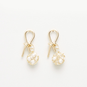 Embellished Knot Shaped Earrings with Pearl Detail