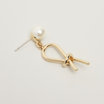 Pearl and Knot Detail Earrings with Pushback Closure