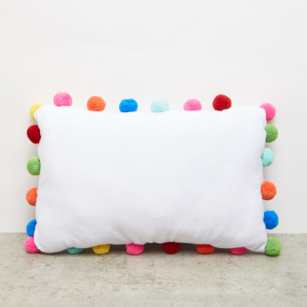 Textured Rectangular Cushion with Pom-Pom Detail - 39x25 cms