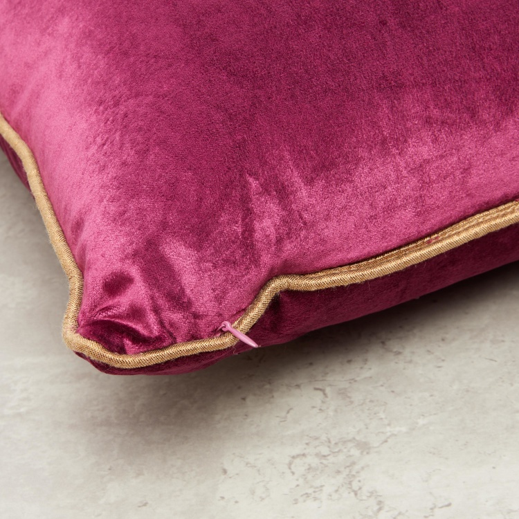 Embroidered Square Velvet Cushion - 45x45 cms