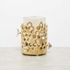 Embellished Honeycomb Pillar Candle Holder - 12x12x16 cms