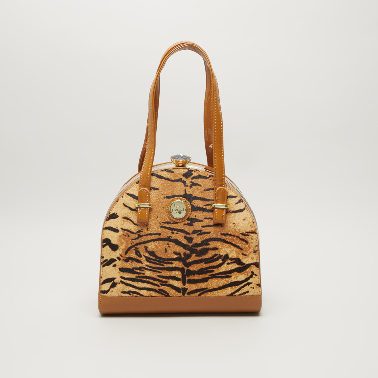 Peach Tiger Print Tote Bag with Handle