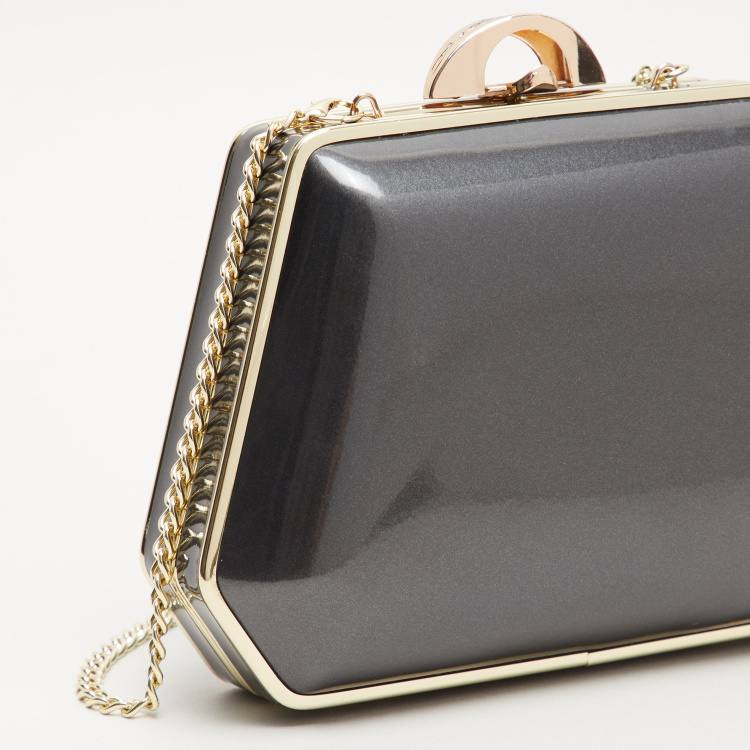 Peach Glazed Clutch with Metallic Strap