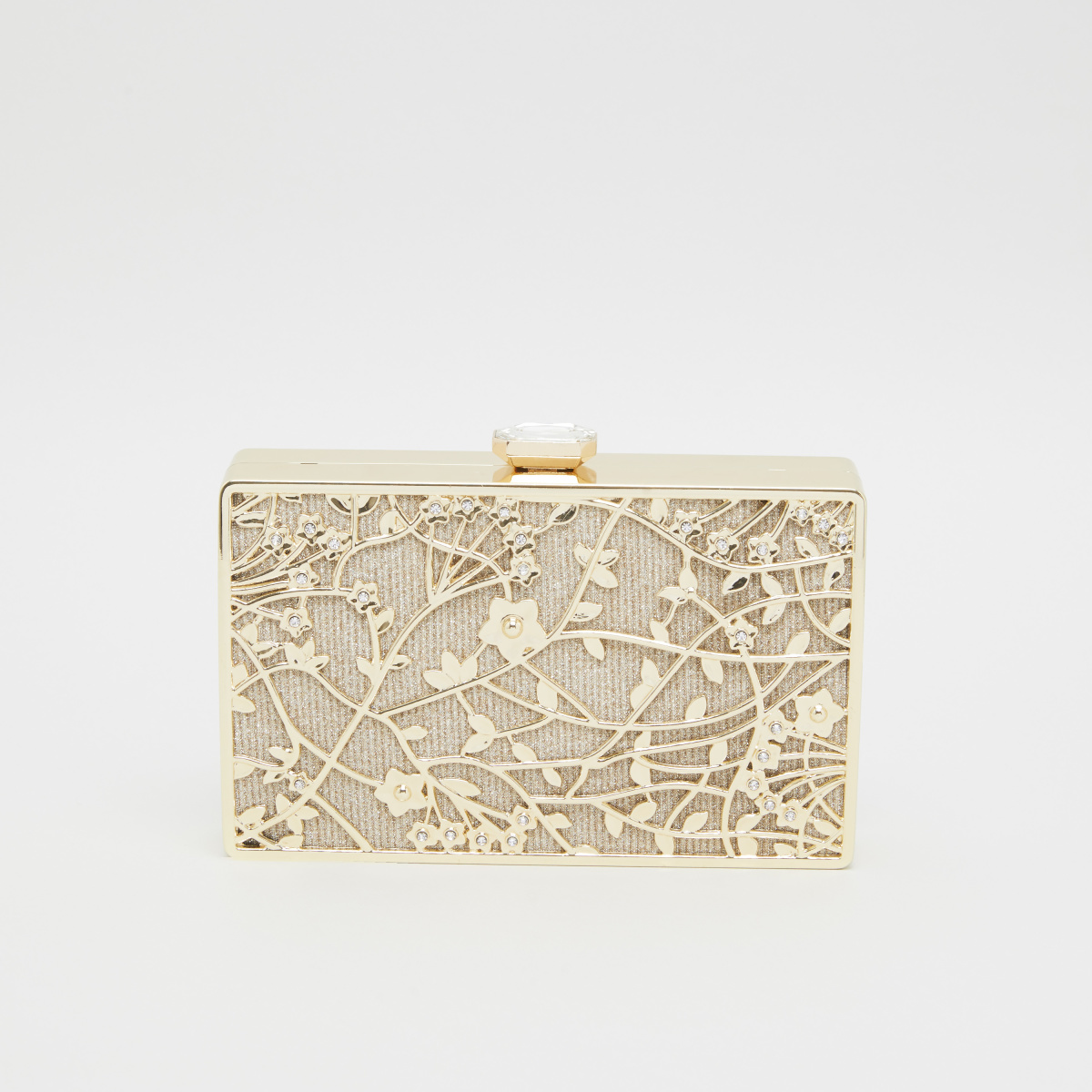 Sasha Embellished Clutch with Button Closure and Glitter Accent