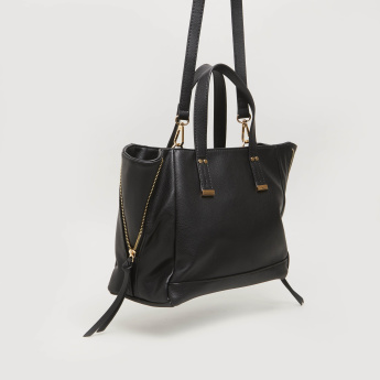 Sasha Solid Tote Bag with Zip Detail