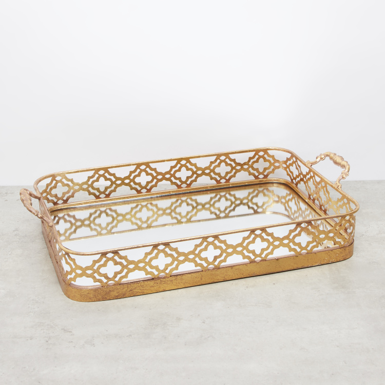 Rectangular Metal Tray with Handles and Mirror Base - 53x31x11 cms