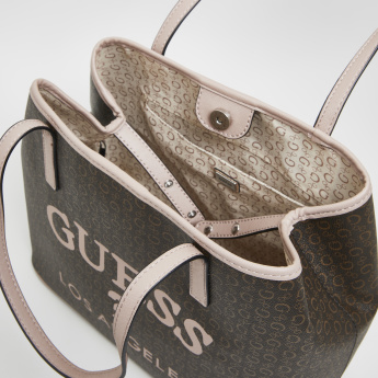Guess Logo Printed Tote Bag with Magnetic Button Closure