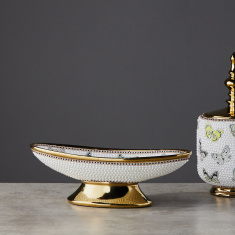 Embellished Fruit Bowl with Pedestal Base - 37x14x16 cms