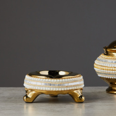 Decorative Ceramic Ashtray with Embellishments