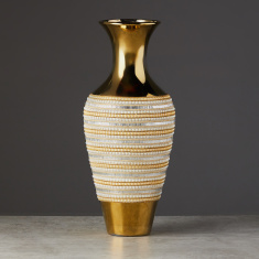Classic Culture Embellished Decorative Vase - 21x21x51 cms