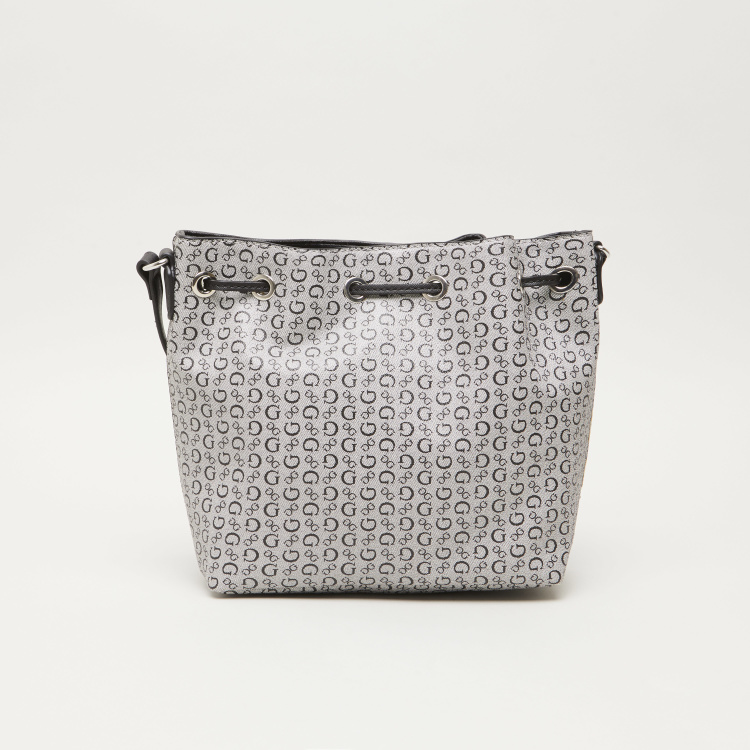 GUESS Logo Printed Bucket Bag