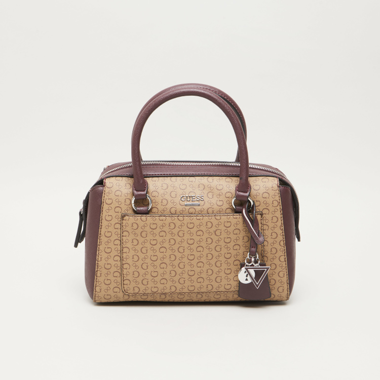 GUESS Logo Printed Satchel Bag with Charm Detail