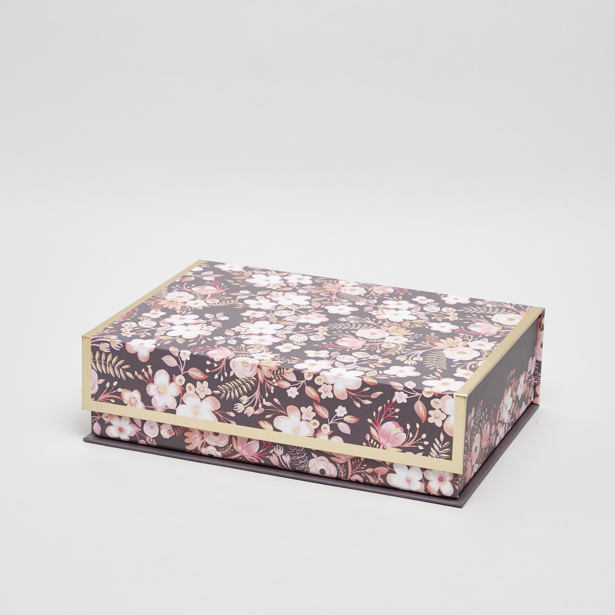 Lady Jayne Gray Dusty Floral Print Nested Box - 32x23x9 cms