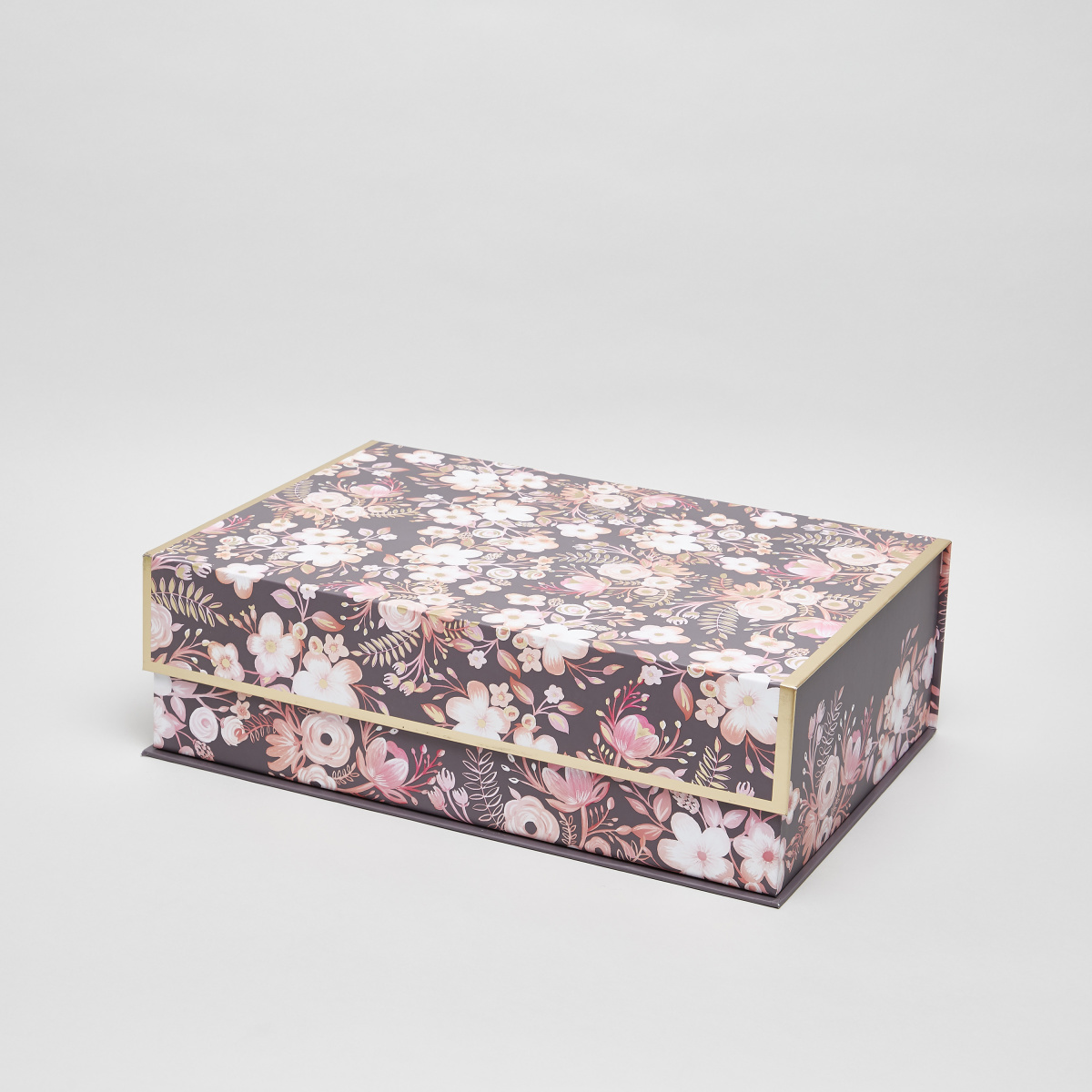 Gray Dusty Floral Print Nested Box - 43x30x3 cms