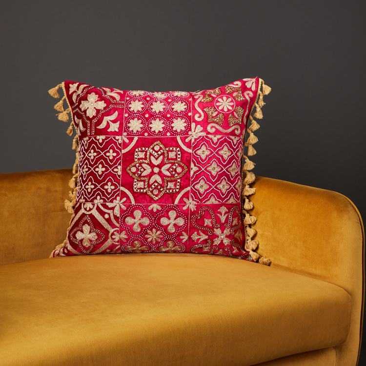 Celebrate Thread and Bead Embroidered Filled Cushion - 45x45 cms