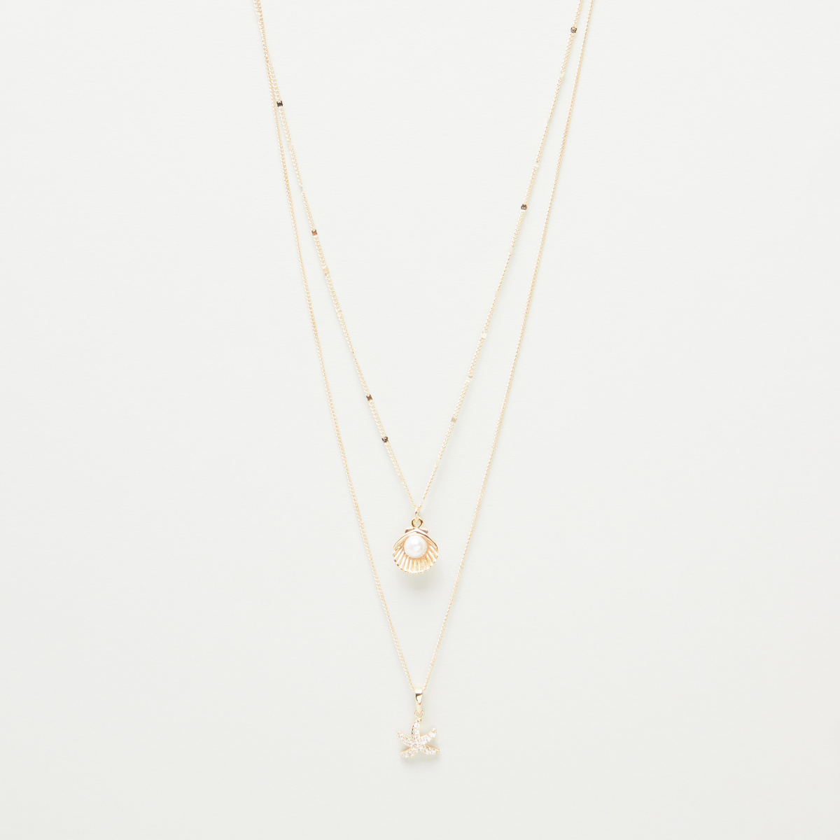 Gold Finish Double Chain Necklace with Starfish and Oyster Pendants