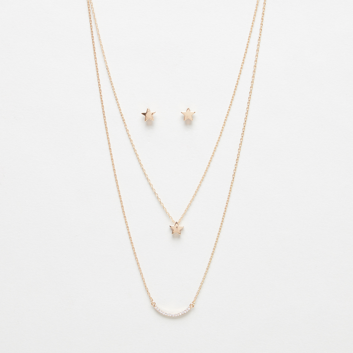 Double Layered Gold Finish Necklace with Star Pendant and Earrings