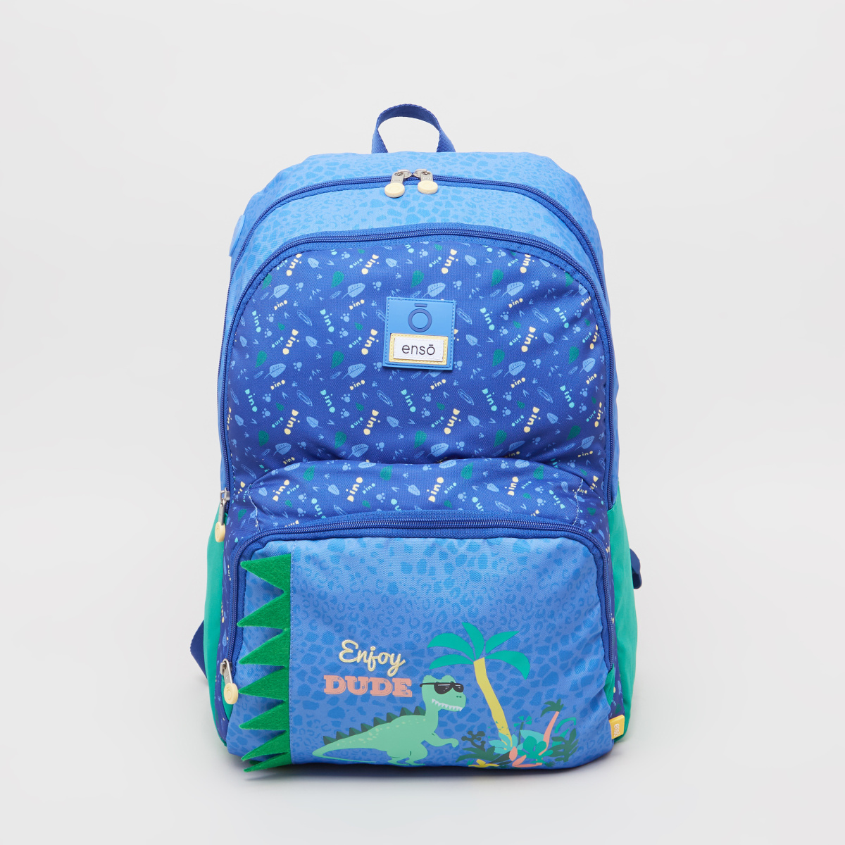 Enso Dino Print Backpack with Front Pocket - 33x46x17 cms