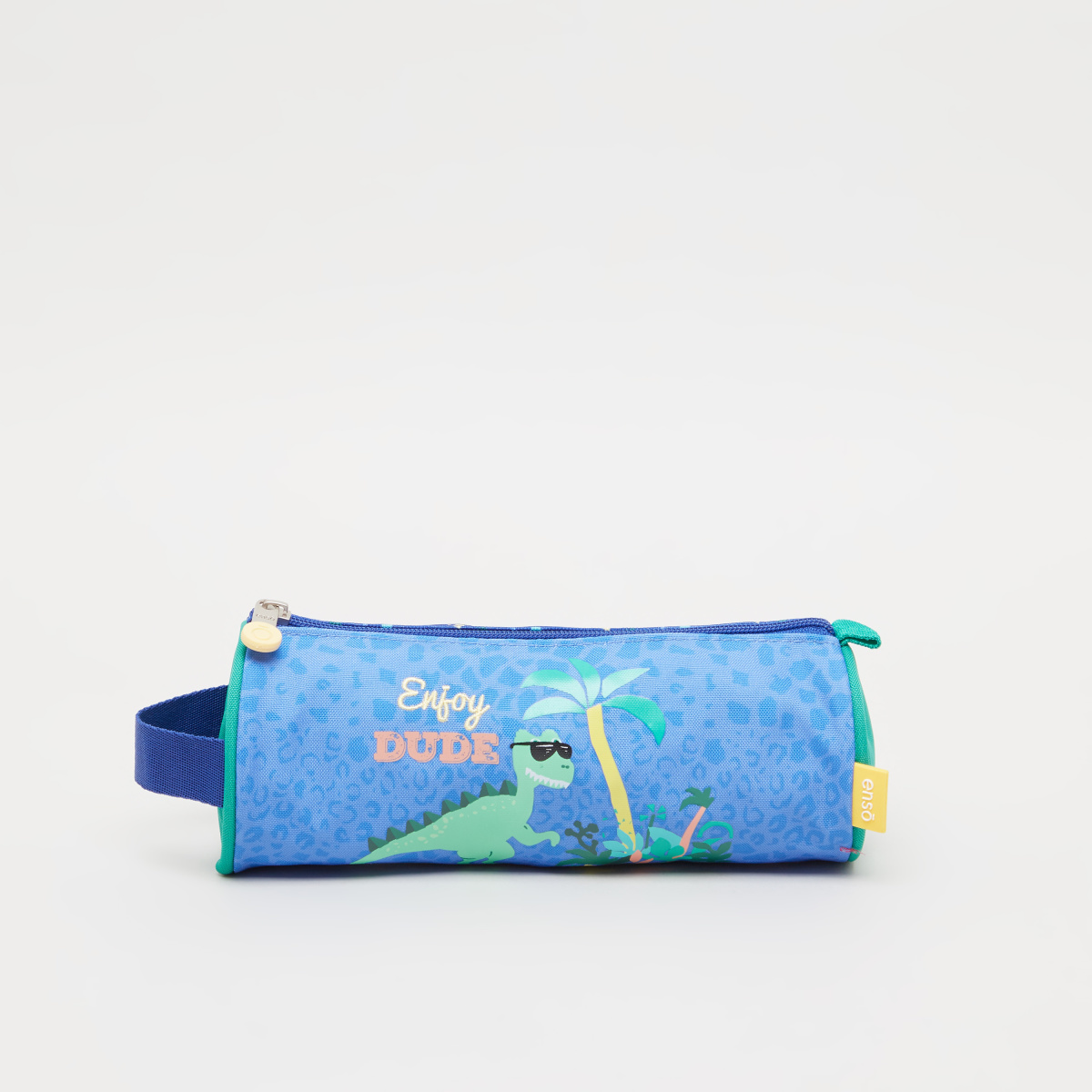 Enso Dino Print Round Pencil Case